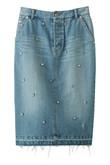 【予約販売】ラインストーン刺繍デニムスカート