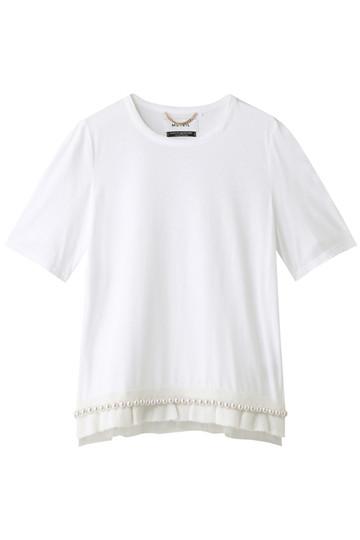 MUVEIL ミュベール 裾パールTシャツ ミルクホワイト