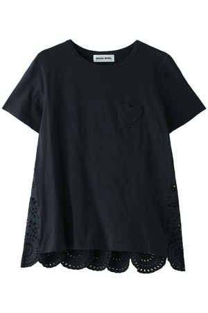【MUVEIL WORK】インドシフリー刺繍入りハートパッチTシャツ ミュベール/MUVEIL