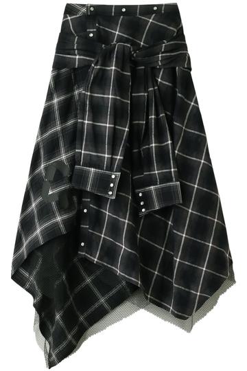 AULA アウラ チェックシャツスカート グレー