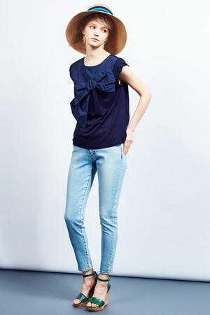 【予約販売】リボンカットソー ランバン オン ブルー/LANVIN en Bleu