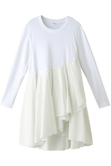 REKISAMI レキサミ 裾フレアロングスリーブTシャツ ホワイト