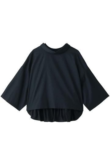 REKISAMI レキサミ スウェットxシャツコンビ ボリュームスリーブトップス ネイビー