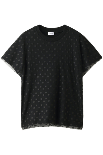 REKISAMI レキサミ ドットチュールレイヤードTシャツ ブラック