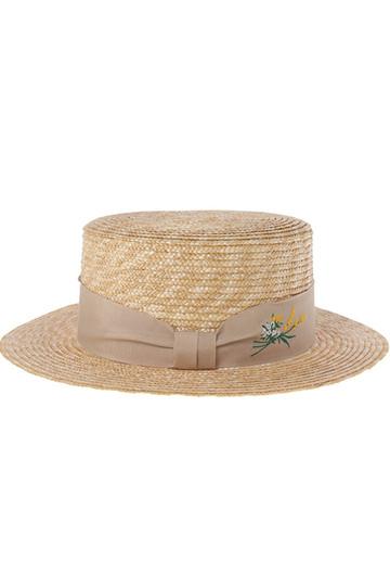[31 Sons de mode トランテアン ソン ドゥ モード] 花刺繍カンカン帽 ベージュ
