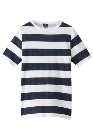 【MEN】半袖ボーダーボートネックTシャツ ハリス/HARRISS