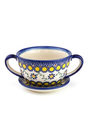 スープカップ&ソーサー ポーリッシュポタリー/Polish Pottery