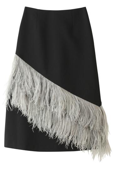 LE CIEL BLEU ルシェルブルー フェザータイトミディスカート ブラック