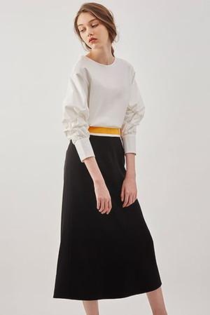 スイッチベルトフレアラインスカート ルシェルブルー/LE CIEL BLEU