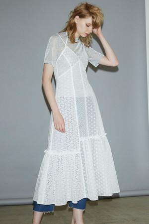 パッチワークレースドレス ルシェルブルー/LE CIEL BLEU