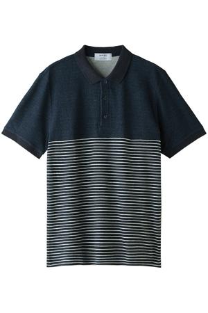 【MEN】粗挽き杢パイルパネルボーダーポロシャツ ビー ピー キュー シー/BPQC