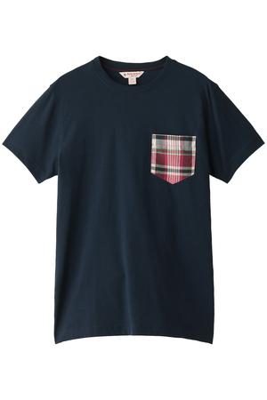 【MEN】【Red Fleece】ニットコットン マドラス ポケット ショートスリーブ Tシャツ ブルックス ブラザーズ/Brooks Brothers