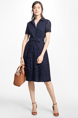 コットン アイレット ベルテッドシャツドレス ブルックス ブラザーズ/Brooks Brothers