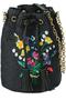 花束刺繍パナマ巾着 ミュベール/MUVEIL ブラック