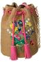花束刺繍パナマ巾着 ミュベール/MUVEIL キャメル