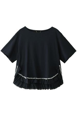 裾切り替えパール刺繍Tシャツ