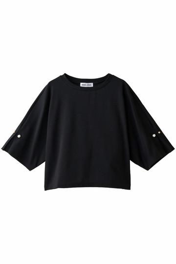 MUVEIL ミュベール 【MUVEIL WORK】パール付ジャージトップス ブラック