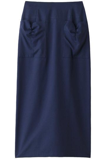 MUVEIL ミュベール 【MUVEIL WORK】リボンディティールスカート ネイビー