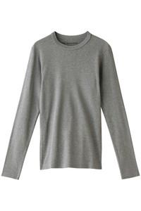 <ELLE SHOP>リブロングTシャツ グレー画像