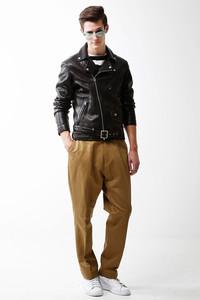 <ELLE SHOP>メンズ(MENS)ヴィンテージレザーライダースジャケット ブラック画像