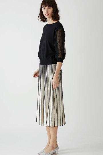 マリリンムーン/MARILYN MOONのフレアスカート(グレイッシュアイボリー×ネイビー/58-8771)