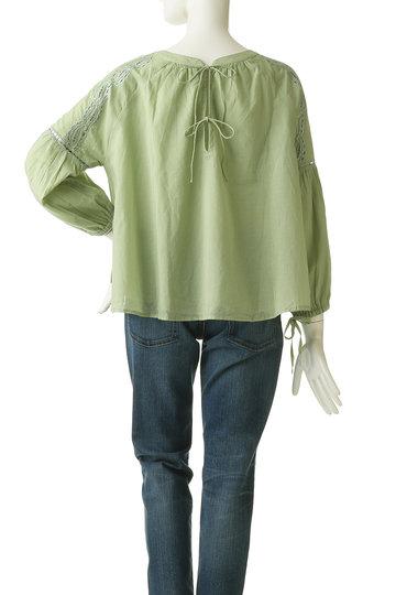 マリリンムーン/MARILYN MOONのショルダー刺繍コットンブラウス(グレイッシュグリーン/58-5372)
