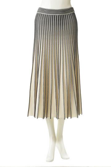 マリリンムーン/MARILYN MOONのフレアスカート(グレイッシュアイボリー×ネイビー/46-8822)