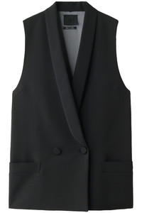<ELLE SHOP> AULA アウラ VISCOSE CLOTH GILET ブラック