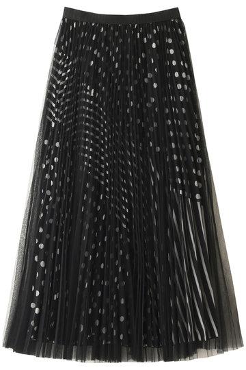 AULA アウラ 【AULA AILA】チュールレイヤードプリーツスカート ブラック