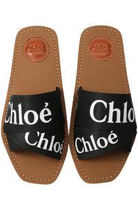 <ELLE SHOP> Chloe クロエ WOODY ロゴフラットサンダル ブラック画像
