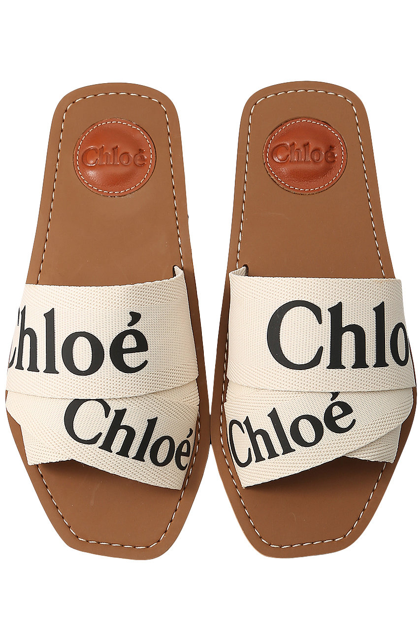 クロエ/ChloeのWOODY ロゴフラットサンダル(ホワイト/CHC19U18808)