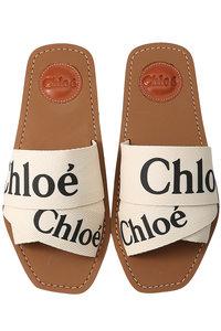 <ELLE SHOP> Chloe クロエ WOODY ロゴフラットサンダル ホワイト画像