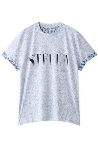 30%OFF!<ELLE SHOP>ロゴ×フラワープリントTシャツ ブルー画像