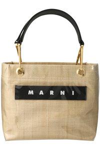<ELLE SHOP> MARNI マルニ GLOSSY GRIP SMALL PVCハンドバッグ ナチュラル画像