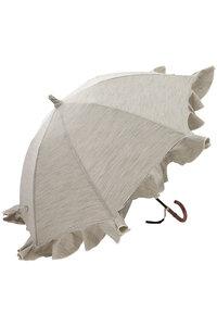 <ELLE SHOP> Kiwanda キワンダ B.B. ヒッコリーフリルショート傘(晴雨兼用) ブラック/アイボリー画像