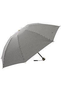 <ELLE SHOP> Kiwanda キワンダ Marilyn ギンガムチェックパール付き折りたたみ傘(晴雨兼用) ブラック画像