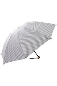 <ELLE SHOP> Kiwanda キワンダ Marilyn ギンガムチェックパール付き折りたたみ傘(晴雨兼用) ライトグレー画像
