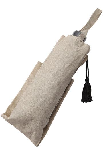 キワンダ/KiwandaのMarilyn リネンクロスパール折りたたみ日傘(晴雨兼用)(ナチュラル/AKU19S02)