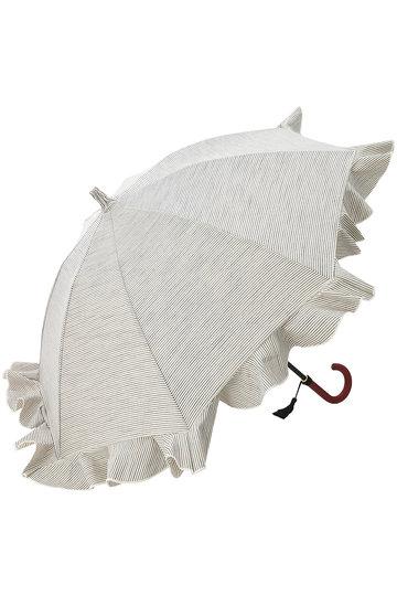 キワンダ/KiwandaのB.B. コットンヒッコリーフリルショート日傘(晴雨兼用)(ブラック/アイボリー/AKU19S04)