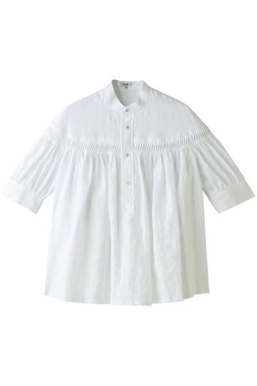 Scye/SCYE BASICS サイ/サイベーシックス リネン高密度半袖タックブラウス オフホワイト