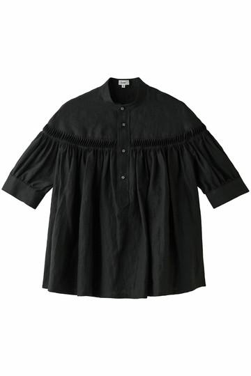 Scye/SCYE BASICS サイ/サイベーシックス リネン高密度半袖タックブラウス ブラック