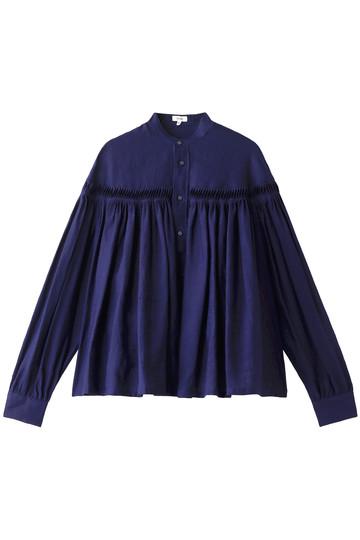 サイ/サイベーシックス/Scye/SCYE BASICSのリネン高密度長袖タックシャツ(ネイビー/1219-31028)