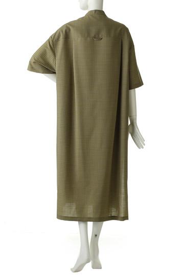 サイ/サイベーシックス/Scye/SCYE BASICSのガンクラブチェックロングシャツドレス(オリーブ/1219-01045)