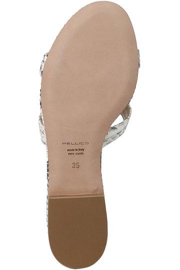 ペリーコ/PELLICOのスキニーストラップパイソン型押フラットサンダル(ホワイト/6174)