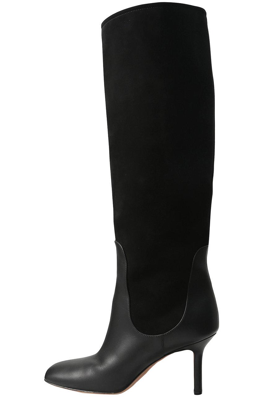 ペリーコ/PELLICOのスエードコンビ スクエアトゥロングブーツ(ブラック/9606)