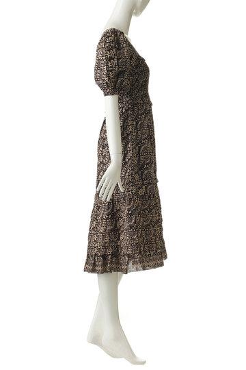 シー ニューヨーク/Sea New Yorkのスクエアネックプリントスモッキングドレス(ブラックマルチ/SS19-54)