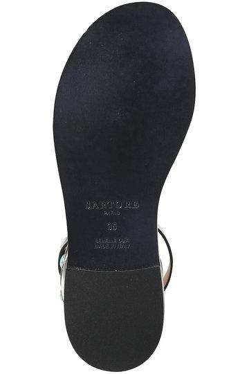 サルトル/SARTOREのターコイズバックル付きアンクルストラップサンダル(ブラック/HSR3553)
