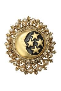 <ELLE SHOP>ヴィンテージボタン×スフレガラスパールブローチ ゴールド画像