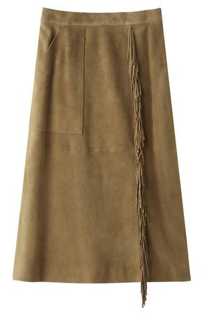 スウェードフリンジタイトスカート マルティニーク/martinique