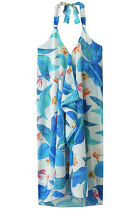 <ELLE SHOP>【Coral veil】Big Leafパレオワンピース ブルー